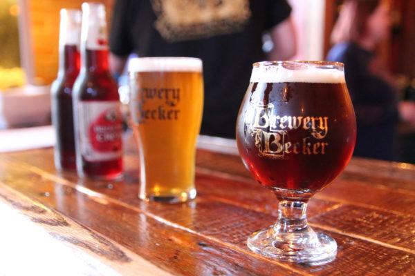 Brewery Becker freshly served drinks on wood bartop